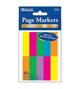 BAZIC 100 Ct. 0.5 X 1.75 Neon Page Marker (10/Pack)