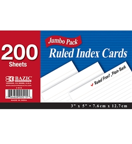 BAZIC 200 Ct. 3 X 5 Ruled White Index Card