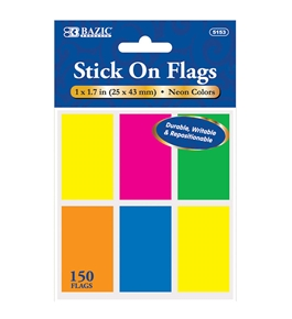 BAZIC 25 Ct. 1 X 1.7 Neon Color Standard Flags (6/Pack)