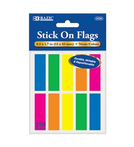 BAZIC 25 Ct. 0.5 X 1.7 Neon Color Coding Flags (10/Pack)