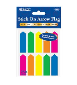 BAZIC 25 Ct. 0.5 X 1.7 Neon Color Arrow Flags (10/Pack)