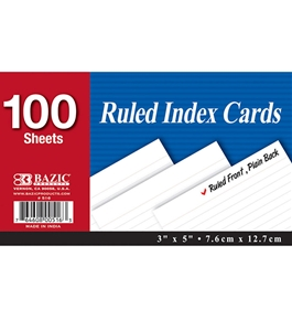 BAZIC 100 Ct. 3 X 5 Ruled White Index Card
