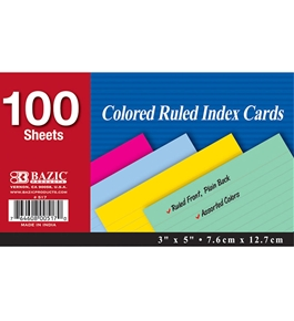 BAZIC 100 Ct. 3 X 5 Ruled Colored Index Card