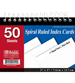 BAZIC 50 Ct. Spiral Bound 3 X 5 Ruled White Index Card