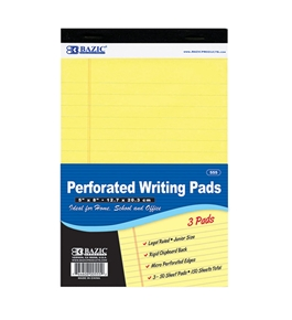 BAZIC 50 Ct. 5 X 8 Canary Jr. Perforated Writing Pad (3/Pack)
