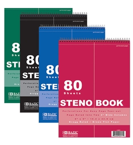 BAZIC 80 Ct. 6 X 9 Green Tint Gregg Ruled Steno Book