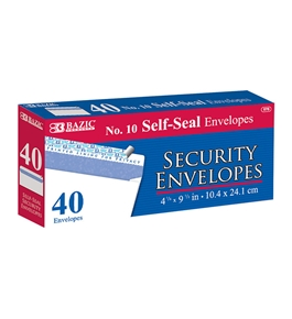 BAZIC #10 Self-Seal Security Envelope (40/Pack)