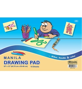 BAZIC 15 Ct. 18 X 12 Manila Drawing Pad