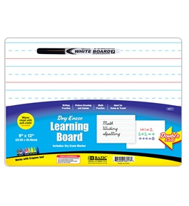 BAZIC 9 X 12 Double Sided Dry Erase Learning Board with Marker