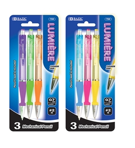 BAZIC Lumiere 0.7 mm Mechanical Pencil with Grip (3/Pack)