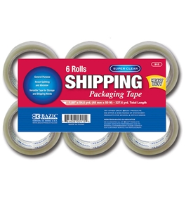 BAZIC 1.88 x 54.6 Yards Super Clear Heavy Duty Packing Tape (6/Pack)