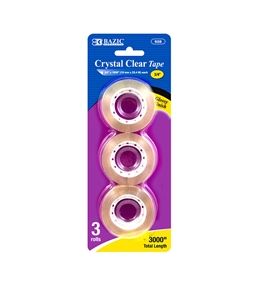 BAZIC 3/4 X 1000 Crystal Clear Tape Refill (3/Pack)