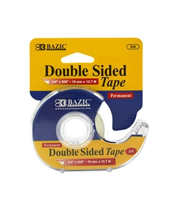 BAZIC 3/4 X 500 Double Sided Permanent Tape with Dispenser