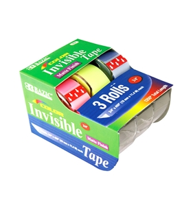 BAZIC 3/4 X 500 Color Invisible Tape (3/Pack)