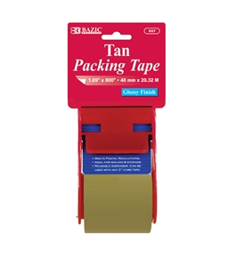 BAZIC 1.88 X 800 Tan Packing Tape with Dispenser
