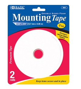 BAZIC 0.5 X 200 Double Sided Foam Mounting Tape (2/Pack)