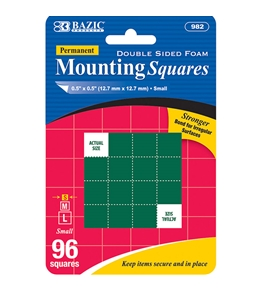 BAZIC 0.5 Double Sided Foam Mounting Squares (96/Pack)