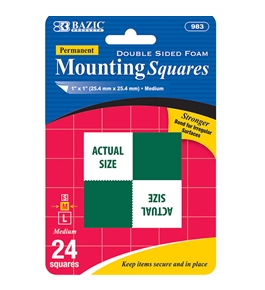 BAZIC 1 Double Sided Foam Mounting Squares (24/Pack)