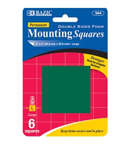 BAZIC 2 Double Sided Foam Mounting Squares (6/Pack)