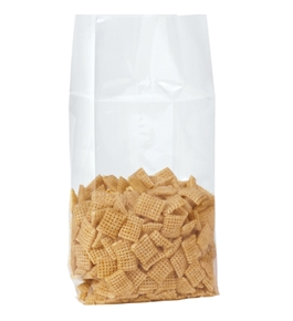 "5 1/4"" x 3"" x 13"" - 1.5 Mil Gusseted Polypropylene Poly Bags - PBG130"