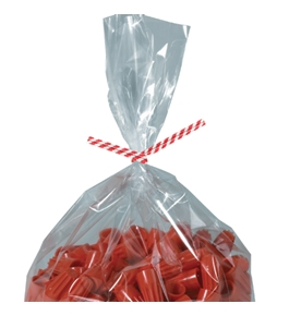 "12"" x 5/32"" Red Candy Stripe Paper Twist Ties - PBT12CS"