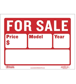 BAZIC 9 X 12 For Sale Sign (2-Line)