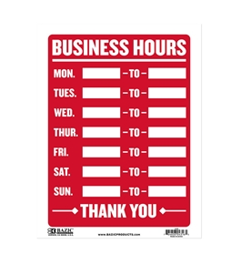 BAZIC 9 X 12 Business Hours Sign