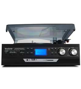 Boytone BT-17DJB-C MULTI RPM TURNTABLE WITH SD/AUX/USB/RCA/3.5mmCONNECTIVITY ENCODE VINYL, RADIO & CASSETTE TAPE TO MP3 AND ENJOY MP3 OR WMA PLAYBACK ON USB OR SD.