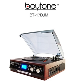 Boytone BT-17DJM-C MULTI RPM TURNTABLE WITH SD/AUX/USB/RCA/3.5mmCONNECTIVITY ENCODE VINYL, RADIO & CASSETTE TAPE TO MP3 AND ENJOY MP3 OR WMA PLAYBACK ON USB OR SD.