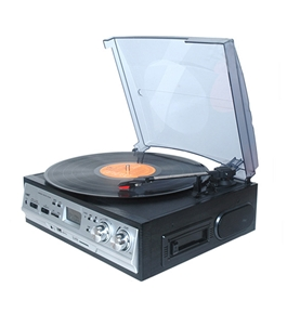 Boytone BT-17DJS-C MULTI RPM TURNTABLE WITH SD/AUX/USB/RCA/3.5mmCONNECTIVITY ENCODE VINYL, RADIO & CASSETTE TAPE TO MP3 AND ENJOY MP3 OR WMA PLAYBACK ON USB OR SD.