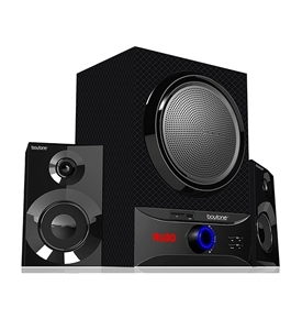 Boytone 2.1 MULTIMEDIA SPEAKER SYSTEM WITH BLUETOOTH/SD/AUX/USBCONNECTIVITY GET SERIOUS SOUNDS WITH 2500W PMPO OUTPUT FOR MUSIC, MOVIES AND GAMES BT-209FB