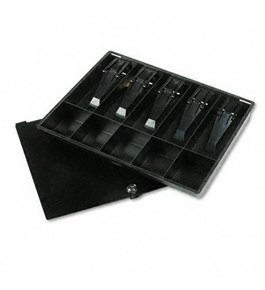 Buddy Products : Recycled Plastic 10-Compartment Cash Tray with Lid, Key Lock, Black -:- Sold as 2 Packs of - 1 - / - Total of 2 Each