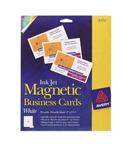 "Business Cards, Magnetic for Inkjet Printers, 2""x3-1/2"", White, 30/Pack AVE8374"