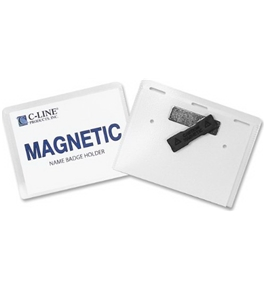 C-Line Magnetic Name Badge Holder Kit, Horizontal, 4 x 3 Inches, Clear, 20/Box (92943)