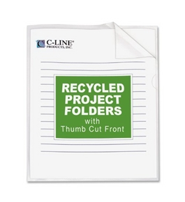 C-Line Recycled Project Folders, 8.5 x 11 Inches, Clear - Reduced Glare, 25 per Box (62127)