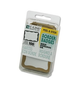 C-Line Self-Adhesive Name Badges, 2 x 3-1/2 Inches, Gold, 100/Box (92266)