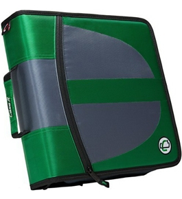 Case-it Locker Zipper Dual Binder, 2 Sets of 1.5-Inch Rings with Boosters, Green, Binder Shell Only, LKR-Dual-02-GRE