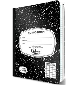 iScholar Composition Book, 100 Sheets, 5 x 5 Graph Ruled, 9.75 x 7.5-Inches