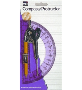 Charles Leonard Inc. Ball Bearing Compass and 6 Inch Protractor Combo Set, Metal/Clear, 1 Set/Card (80960)