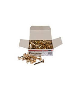 Charles Leonard Inc., Fasteners, Round Head, Brass Plated 1-1/2 Inches Shank, 12 mm Head, 100/Box (6R-BP)