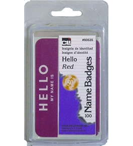 "Charles Leonard Labels - Name Badge - 3-3/8"" x 2-1/4"" - Hello My Name Is - Red - 100/Box, 93535"