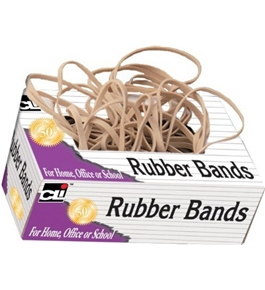 Charles Leonard Rubber Bands, Tissue-style Box, #82, Beige/Natural, 56182