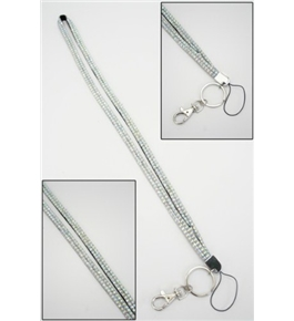 Clear Crystal Lanyard Keychain Card Holder
