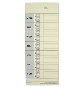 Pyramid Technologies Attendance Cards for the Model 1000 Time Recorder