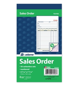 "Adams Sales Order Book, 3-Part, Carbonless, 4-3/16"" X 7-3/16"" Inch, 50 Sets, White, Canary and Pink (TC4705)"