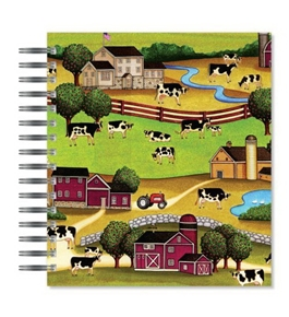 ECOeverywhere Folk Farm Scene Picture Photo Album, Holds 72 Photos, 7.75 x 8.75 Inches, Multicolored (PA12397)
