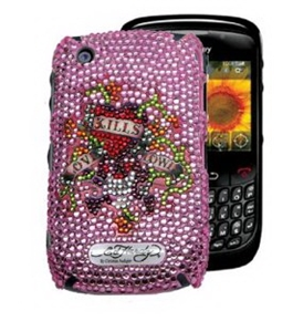 Ed Hardy Crystal Faceplate for BlackBerry Curve 8520 - Love Kills Slowly - Pink