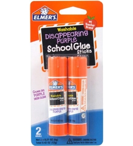 Elmer's Disappearing Purple School Glue Sticks, 0.21 oz Each, 2 Sticks per Pack (E522)