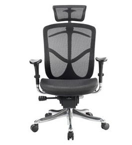 Eurotech Fuzion High Back Black Mesh Chair w/ Aluminum Base
