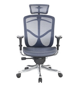 Eurotech Fuzion High Back Blue Mesh Chair w/ Aluminum Base